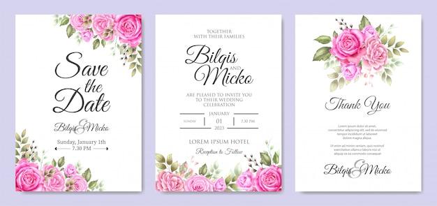 花葉の美しい結婚式の招待状