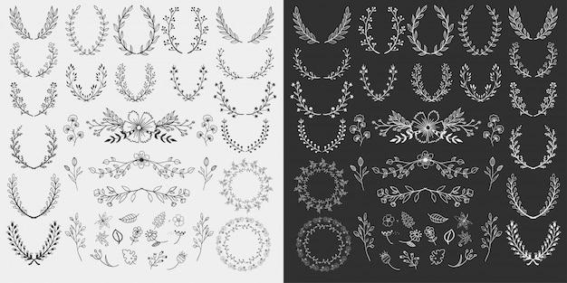 手描きの花の要素のデザイン