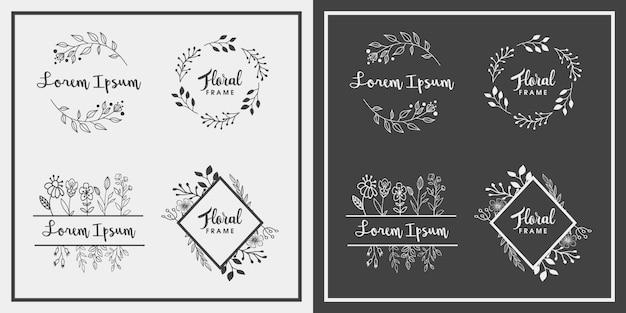 手描きの花のフレームデザイン