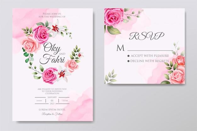 エレガントな結婚式の花の招待状