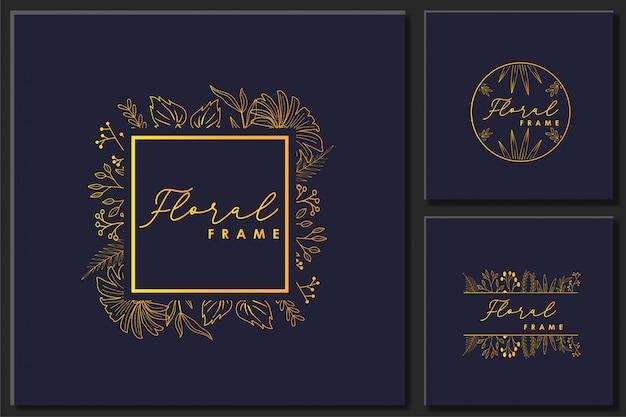 手描きの花のフレームベクトルのセット