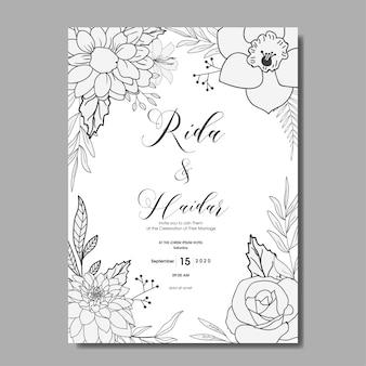 ヴィンテージ手描き花の結婚式の招待状