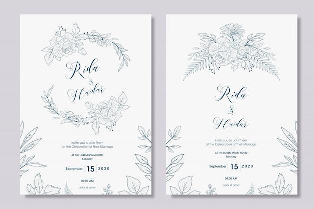 Ручной обращается цветочный дизайн свадебного приглашения