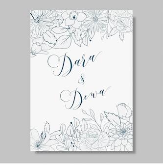 手描きの花の結婚式の招待状のデザイン