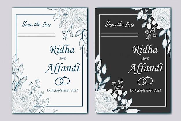 手描きの植物の結婚式の招待状