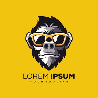 Обезьяна логотип дизайн вектор