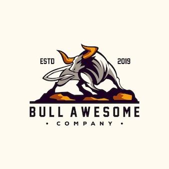 素晴らしい雄牛のロゴデザインベクトル
