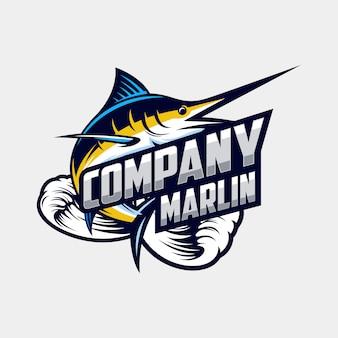 Высокий марлин логотип дизайн вектор
