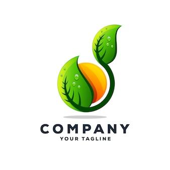 Удивительный лист дерева дизайн логотипа вектор