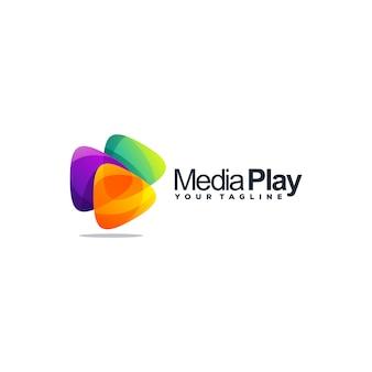 Удивительный медиа дизайн логотипа вектор
