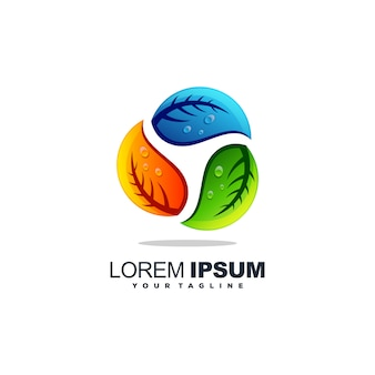 素晴らしい木の葉のロゴデザインベクトル