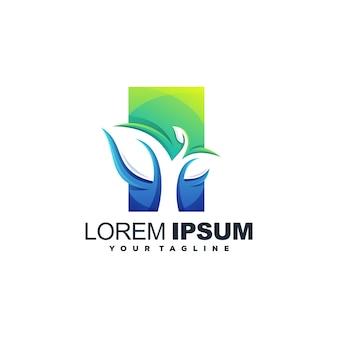 Высокий логотип листьев