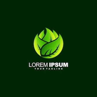素晴らしい葉のロゴデザインのベクトル