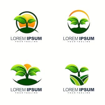 素晴らしい葉のロゴデザイン