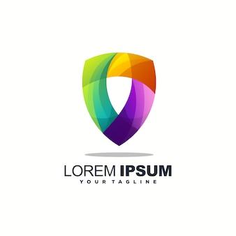 Цветной полный дизайн логотипа щита