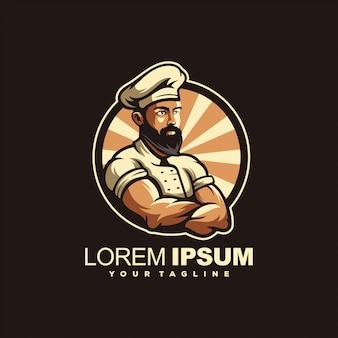 Удивительный дизайн логотипа бородатого шеф-повара