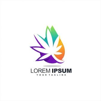 Потрясающий логотип с градиентом листьев