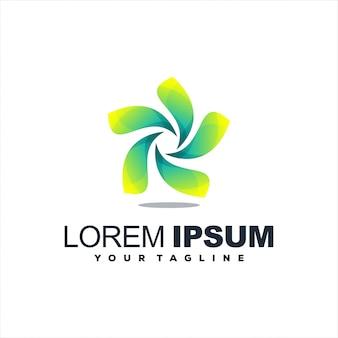 Удивительный дизайн логотипа с градиентом листьев
