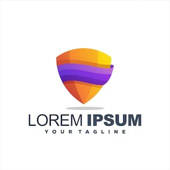 Удивительный дизайн логотипа градиентного щита