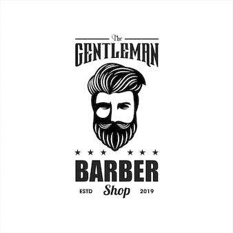 紳士理容室のロゴのテンプレート