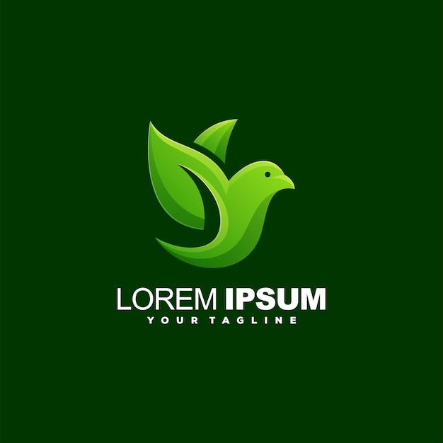 素晴らしい鳥の葉のロゴ
