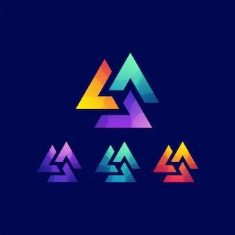 Высокий логотип градиент треугольника
