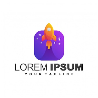 Удивительный логотип градиент ракеты