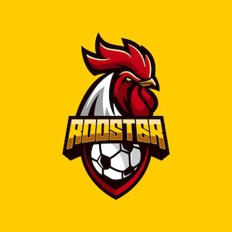 素晴らしいオンドリサッカーのロゴのベクトル