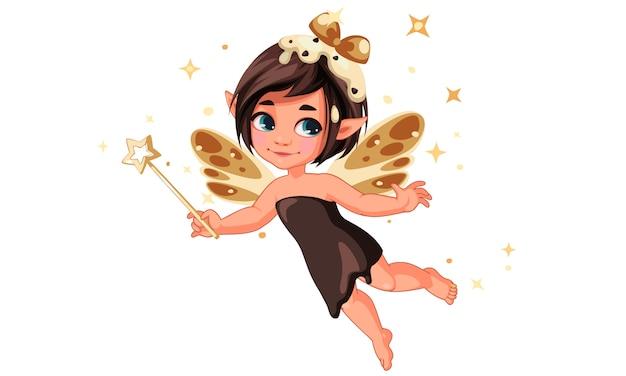 かわいい小さなチョコレートバニラ妖精