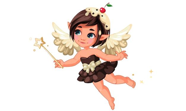 Милая маленькая шоколадная ванильная фея с вишней на голове