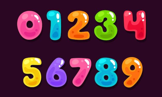 ゼリーのカラフルなアルファベット番号