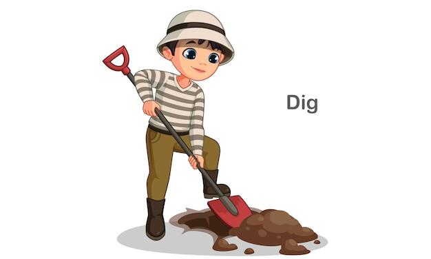 Милый маленький мальчик копать яму с лопатой векторная иллюстрация