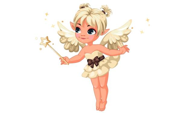 魔法の杖を保持しているかわいい小さなバニラ妖精