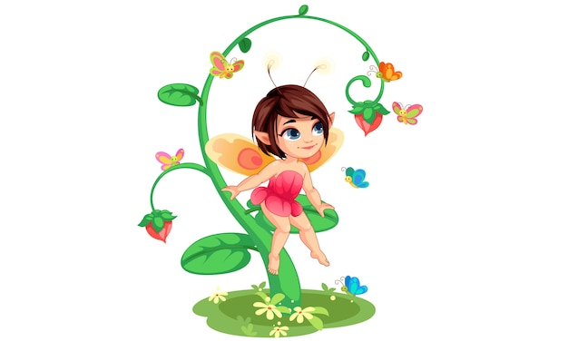 Милая маленькая цветочная фея сидит