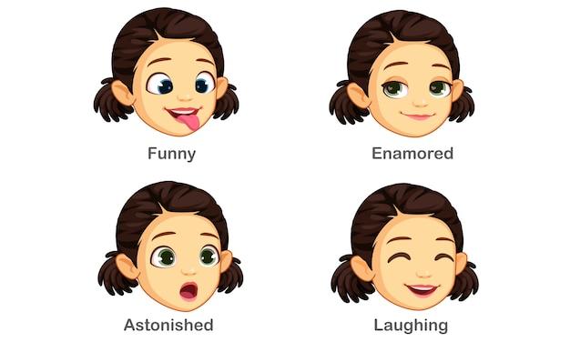 女の子の表情のセット