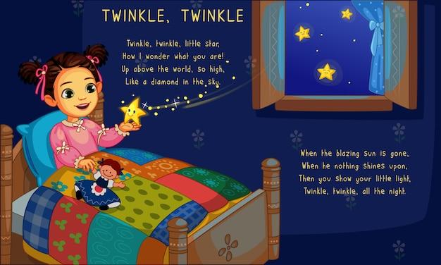 きらめきの星とベッドの中でかわいい女の子