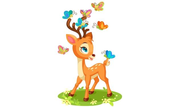 かわいい赤ちゃん鹿と蝶の演奏