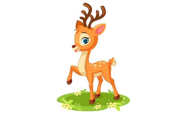 かわいい赤ちゃん鹿のポーズ