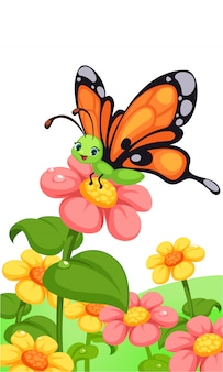 Милая бабочка на разноцветных цветах