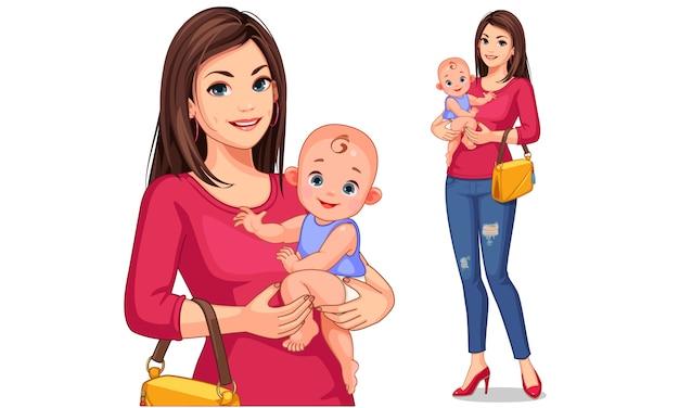 美しい若い母親と赤ちゃんのベクトル図