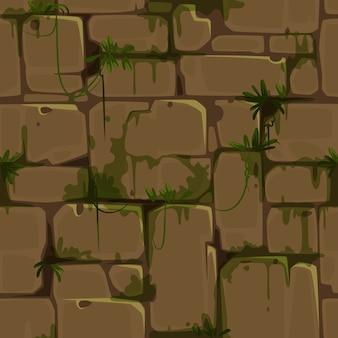ジャングルのテーマベクトルの黄色いレンガの壁のシームレスパターン