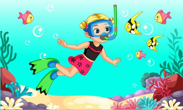 Милый мультфильм дайвер маленькая девочка