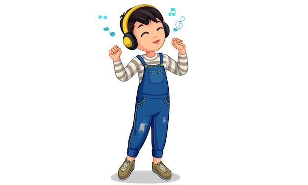 Маленький мальчик слушает музыку