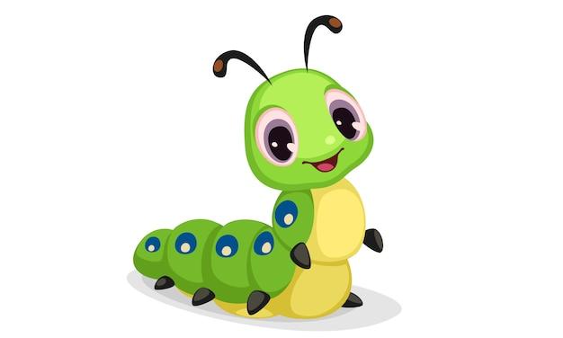 Симпатичная гусеница мультяшный векторная иллюстрация