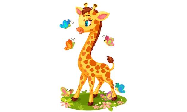 Милый жираф играет с бабочками