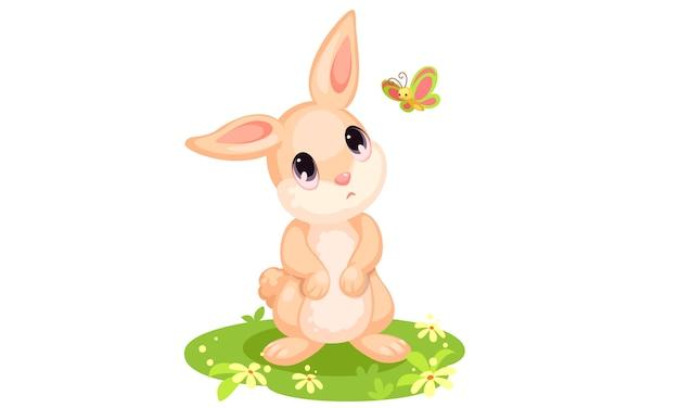 Милый кролик смотрит на бабочку