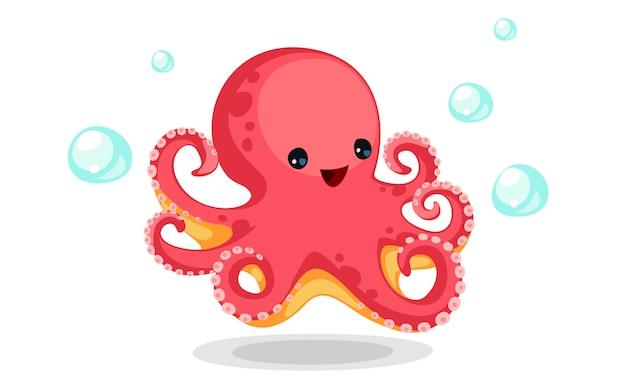 Симпатичный красный осьминог мультфильм вектор