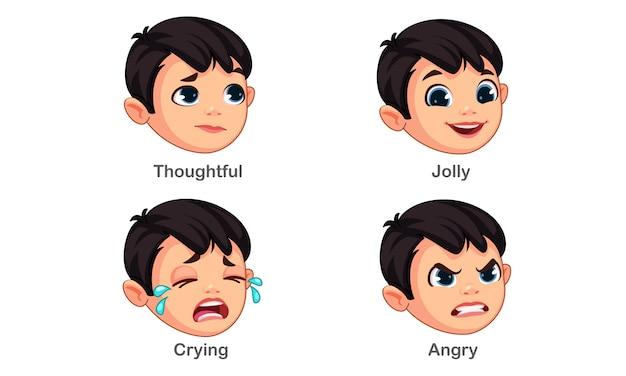 異なる表情を持つ少年