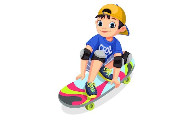 Крутой мальчик на скейтборде делает трюки