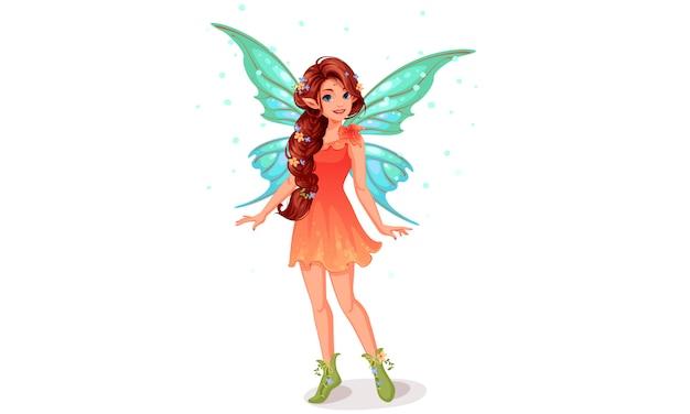 美しい長い編みこみヘアスタイルのかわいい妖精